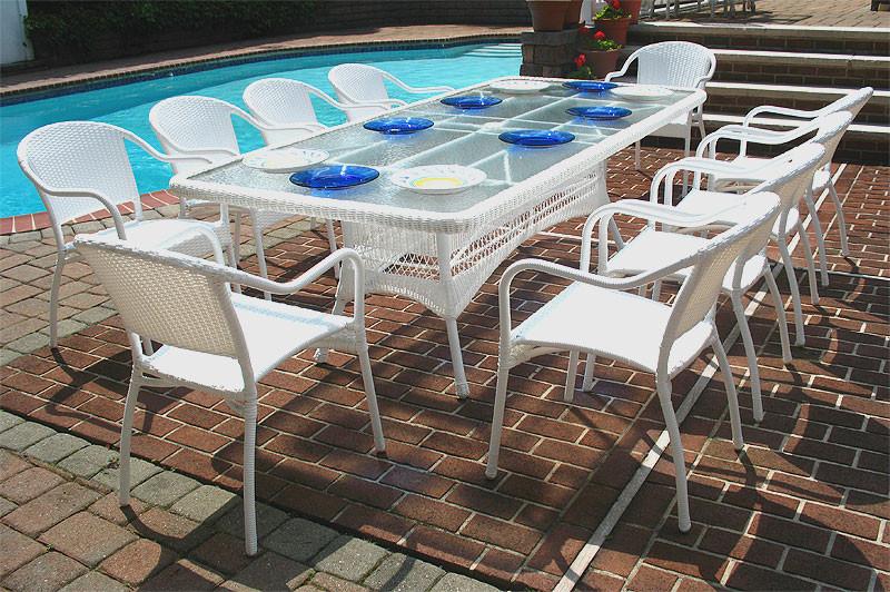 96 x 42 rectangular resin wicker dining set no cushions