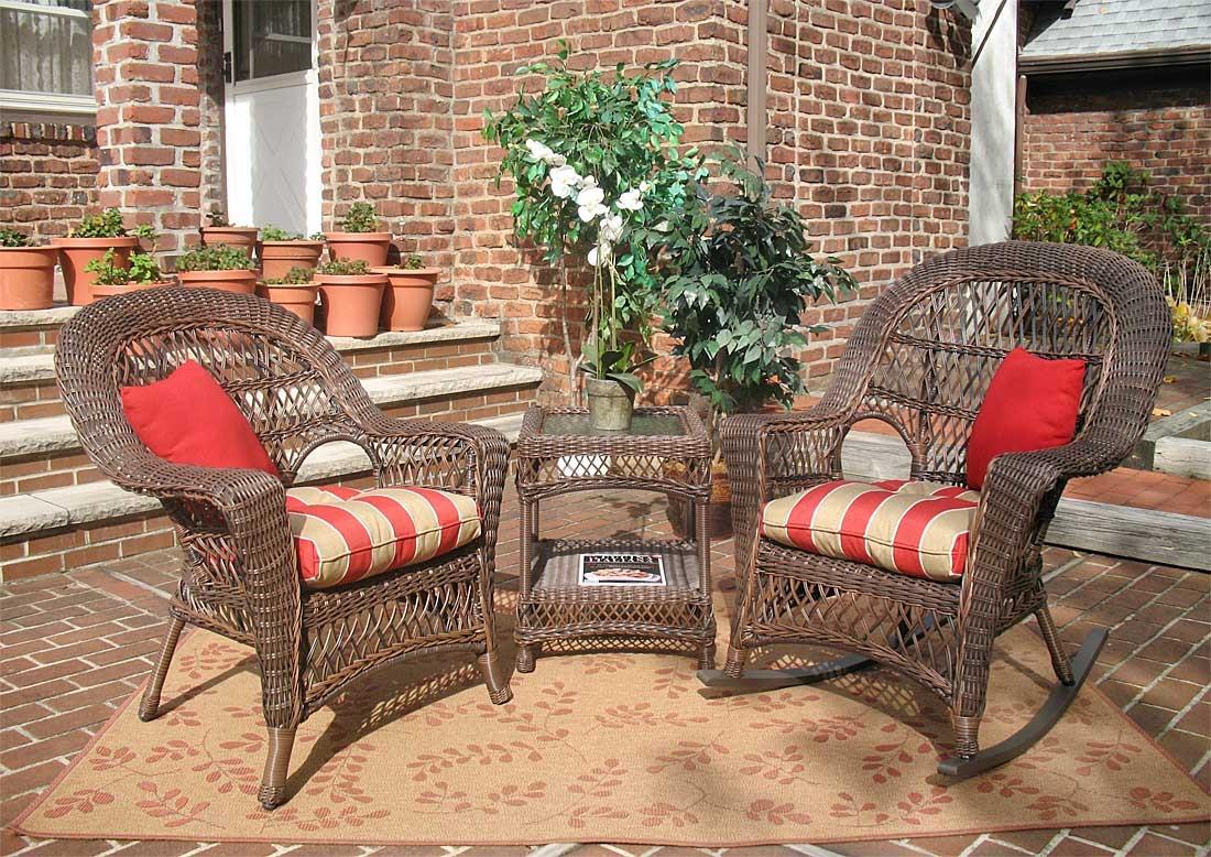 3 piece madrid resin wicker chat set 1 chair 1 rocker