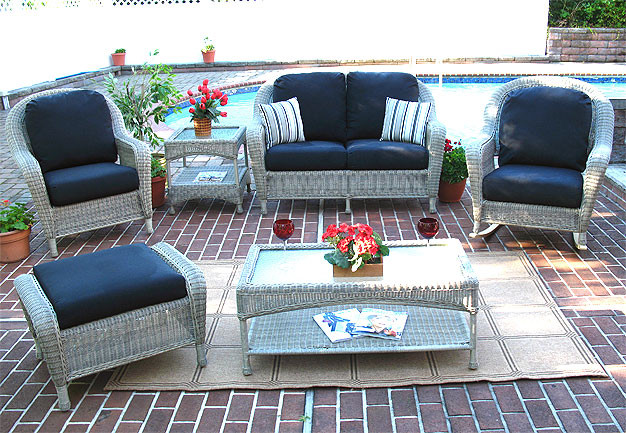 4 piece laguna beach resin wicker patio furniture with love seat 2 chairs cocktail table