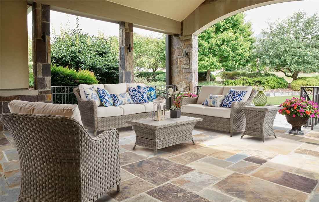 5 piece countryside all weather resin wicker outdoor furniture set