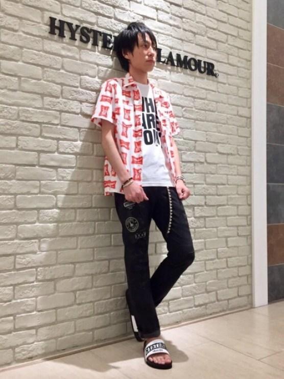 RYUさんの「HIGH TIMES総柄半袖エンジニアシャツ(HYSTERIC GLAMOUR)」を使ったコーディネート