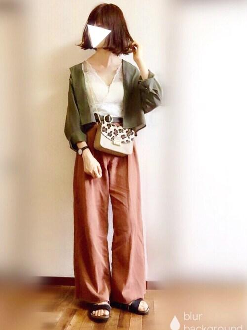 ぴょんのシャツ/ブラウス「開衿オーバーシャツ」を使ったコーディネート