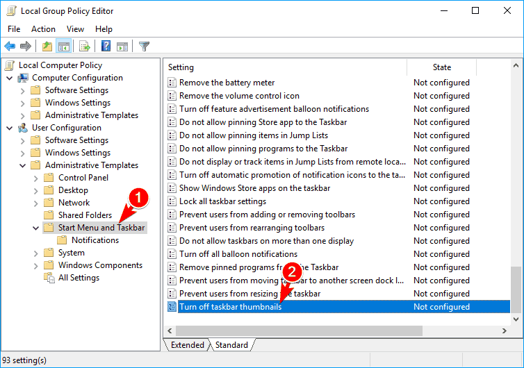 turn off taskbar thumbnails group policy editor png thumbnails not showing windows 10