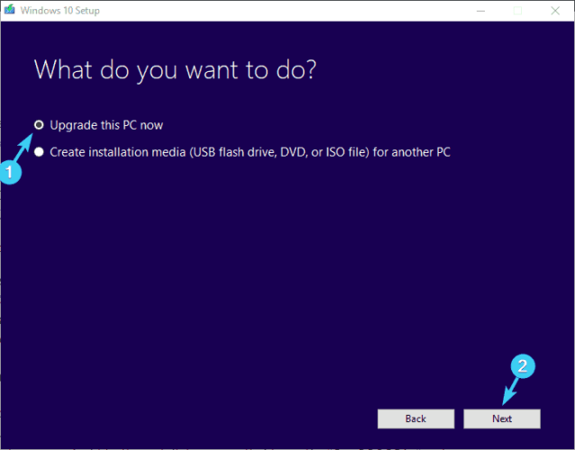 upgrade this PC now installation error 0xc000021a