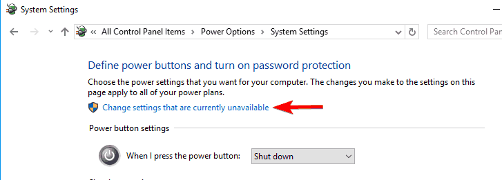 change settings that are currently unavailable power options