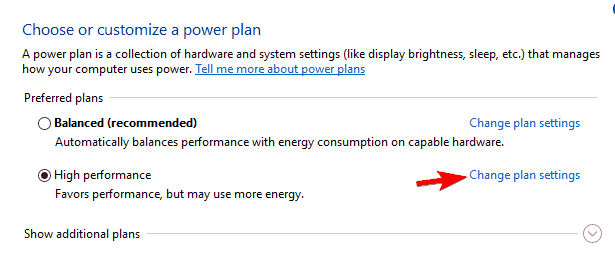 Unexpected Store Exception HP change power plan settings