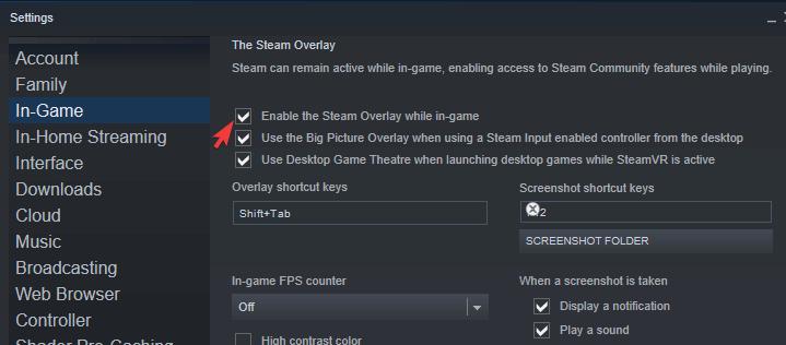 steam overlay not working windows 10