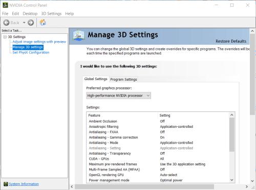 Manage 3D settings tab minecraft not using gpu