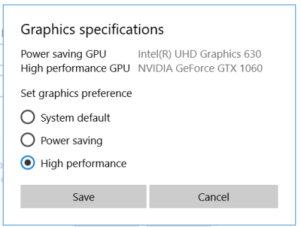 Graphic specifications options minecraft not using gpu