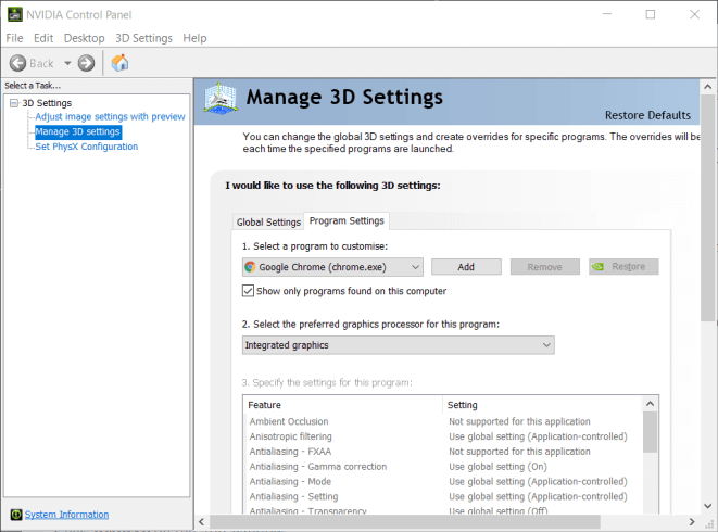 Program Settings tab minecraft not using gpu