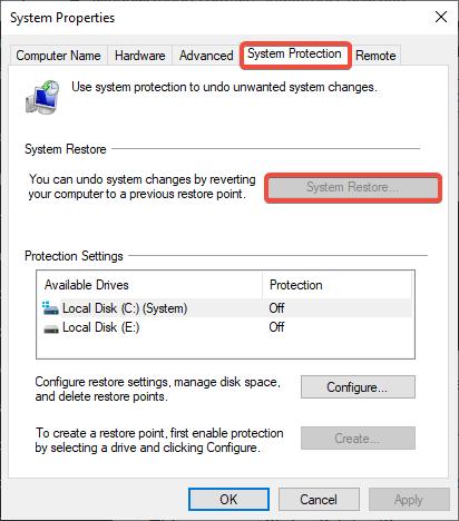 system restore to fix 0x00000010