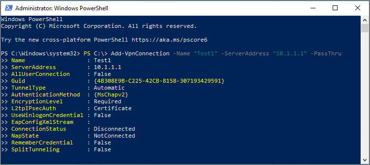 use the add-vpnconection cmdlet in Windows 10 PowerShell