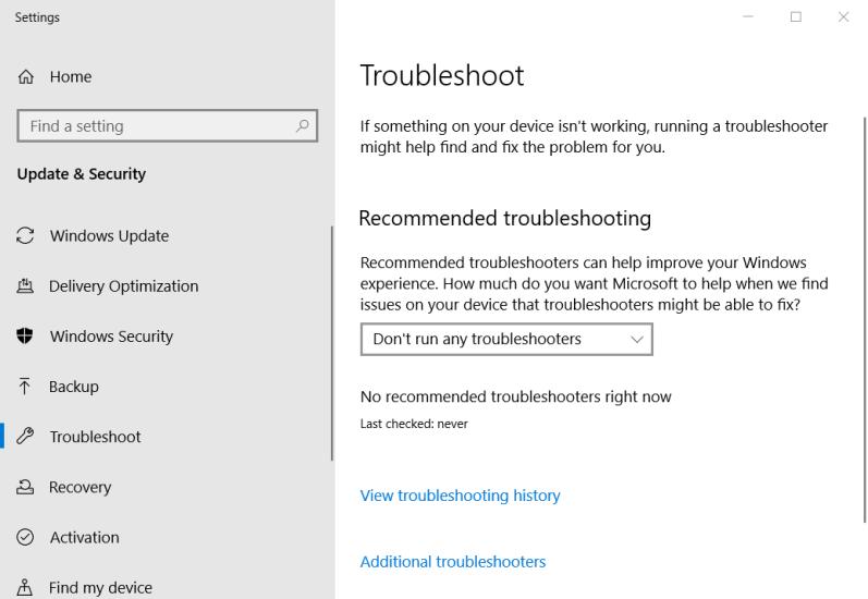 The Troubleshoot tab windows update code 800b0100