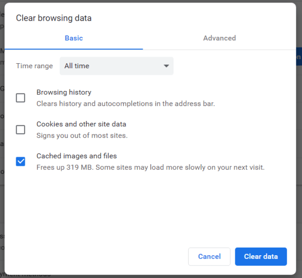 Chrome's Clear browsing data options facebook games not loading in browser