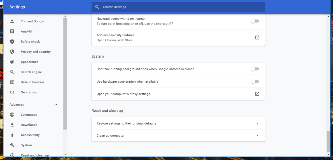 Restore settings to their original defaults option facebook games not loading in browser