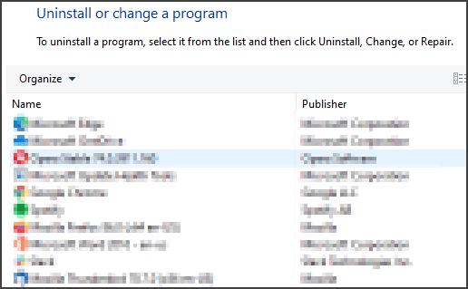 uninstall program