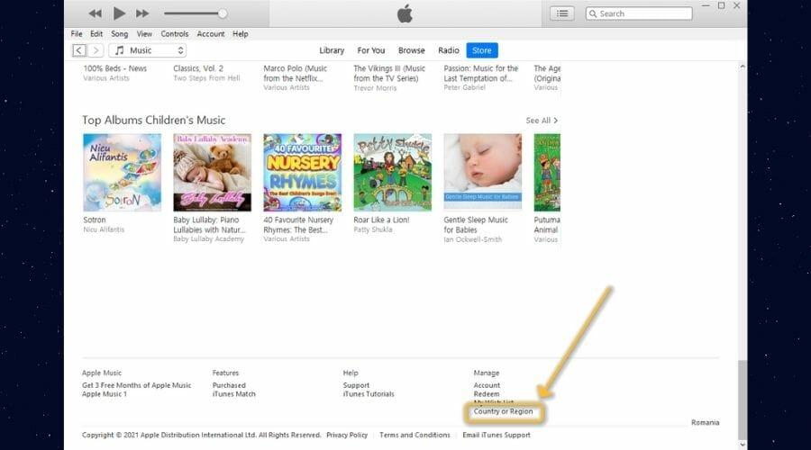 Change iTunes region