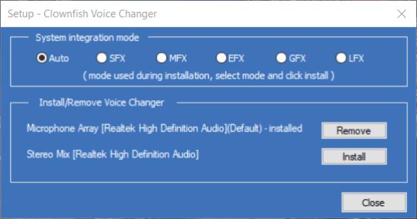 The Setup window clownfish voice changer discord
