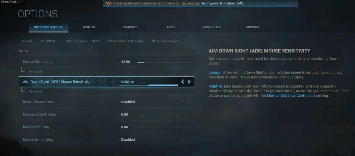 Keyboard & Mouse settings mouse lag call of duty modern warfare
