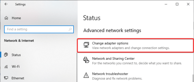 Windows 10 shows Change adapter options