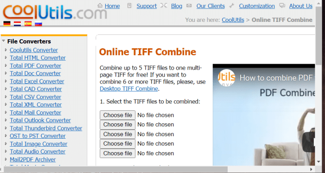The Online TIFF Combine utility combine tiff files