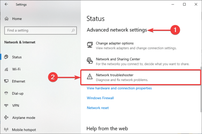 Windows 10 shows Network troubleshooter
