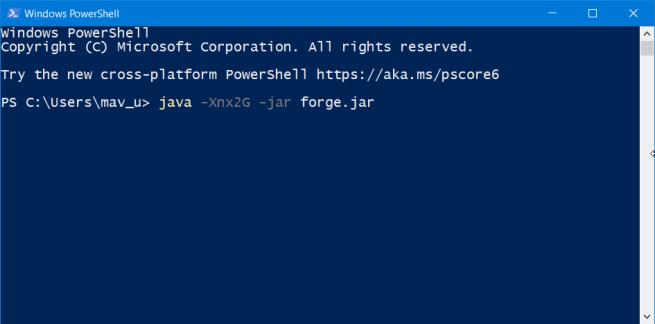 PowerShell minecraft forge not installing windows 10