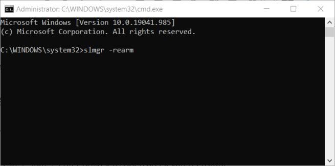 slmgr -rearm command windows error code 0xc004f025