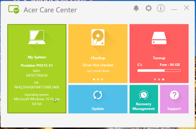 Acer Care Center how to update drivers acer predator helios 300