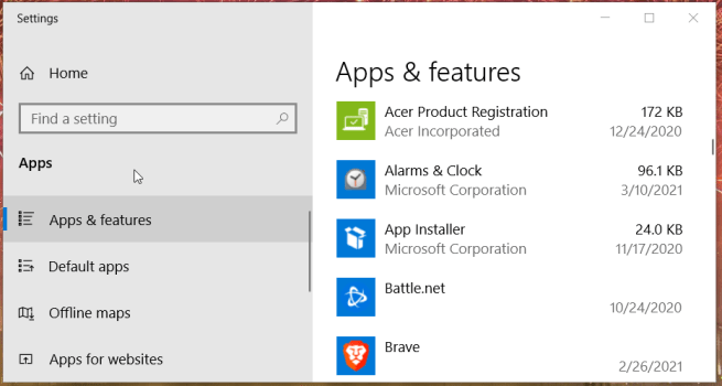 Apps & features tab error code 0x887a0005