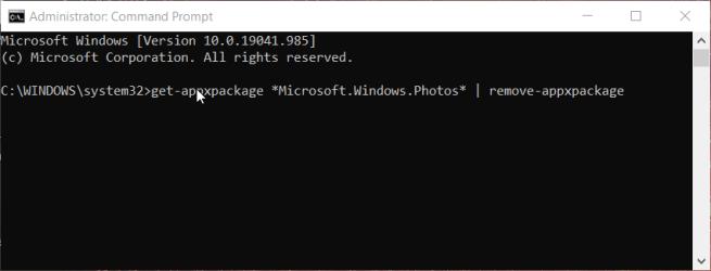 The uninstall Photos command error code 0x887a0005