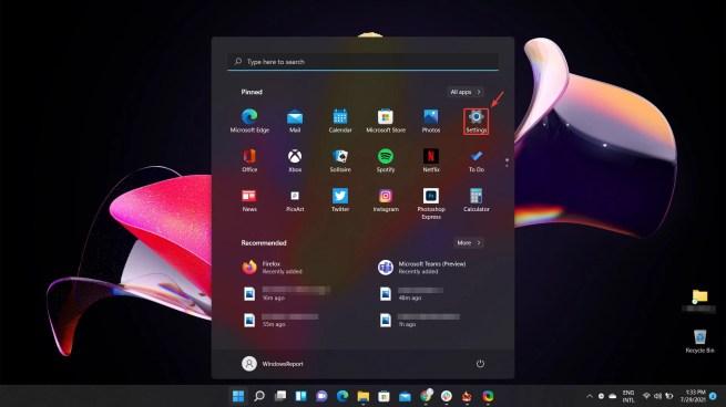 access settings menu