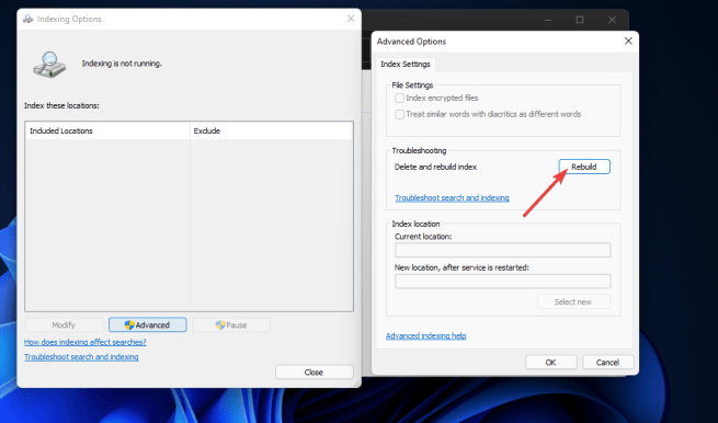 The Rebuild option windows 11 search indexing was turned off
