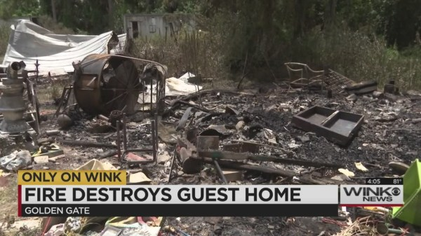 Fire destroys guest home in Golden Gate Estates
