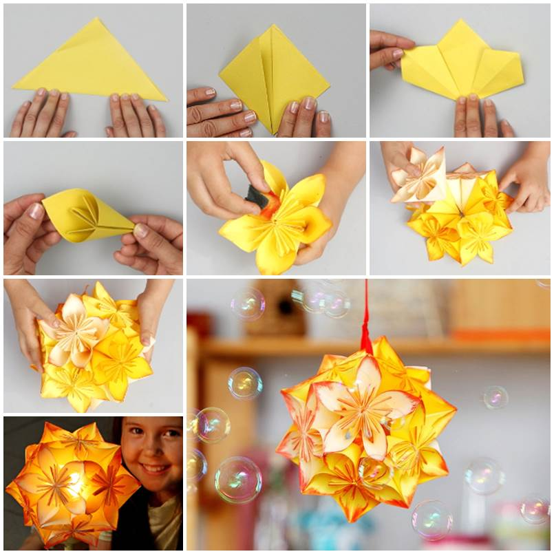 DIY-Origami-Kusudama-flower ball-Featured