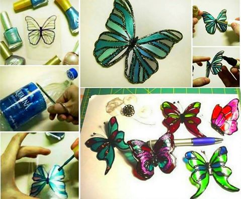 Upcycle Plastic Bottles into these gorgeous Butterflies and decorate with your favourite Nail Polish!