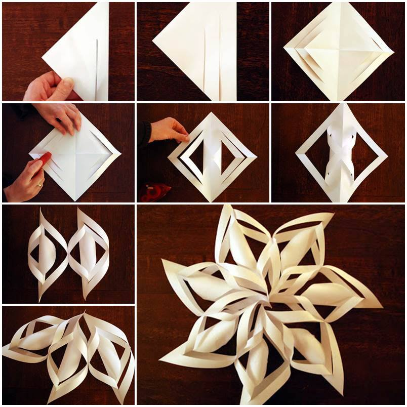 Paper star Snowflake DIY F2 Wonderful DIY 3D paper star Snowflakes