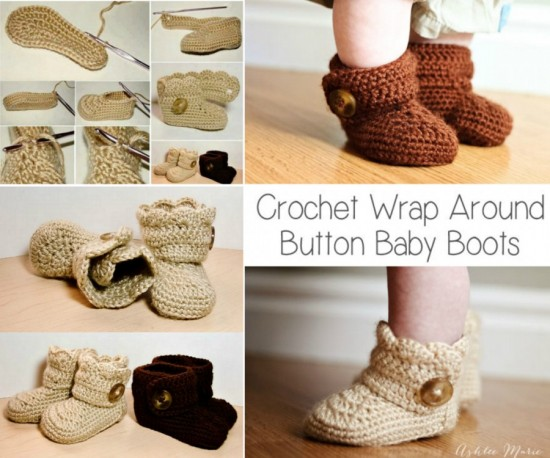 Crochet Wrap Around Button Boots Free Pattern wonderfuldiy Wonderful DIY Crochet Wrap Around Button  Baby Booties