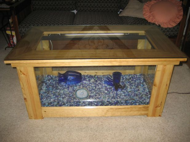 Homemade fish tank table for Fish tank coffee table diy