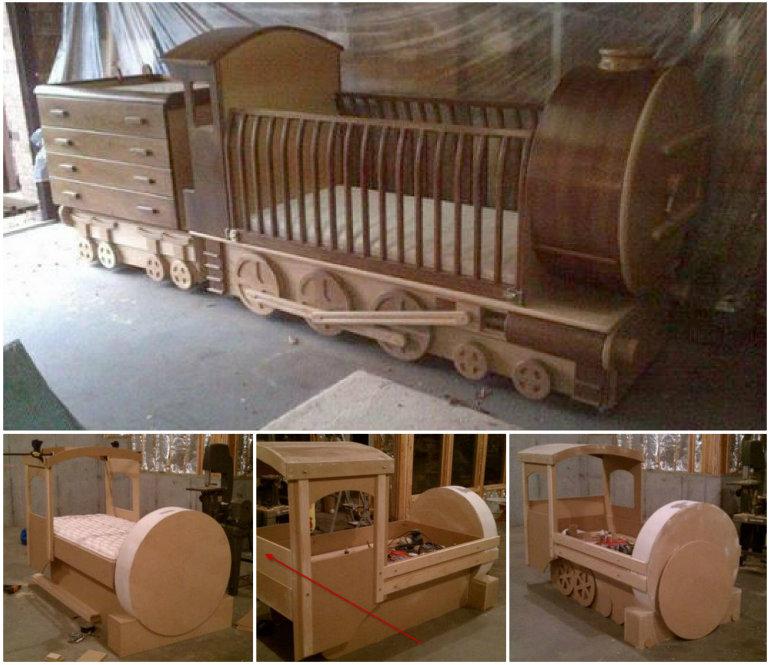 Train crib bed diy F Wonderful DIY Amazing  Kids Train Bed