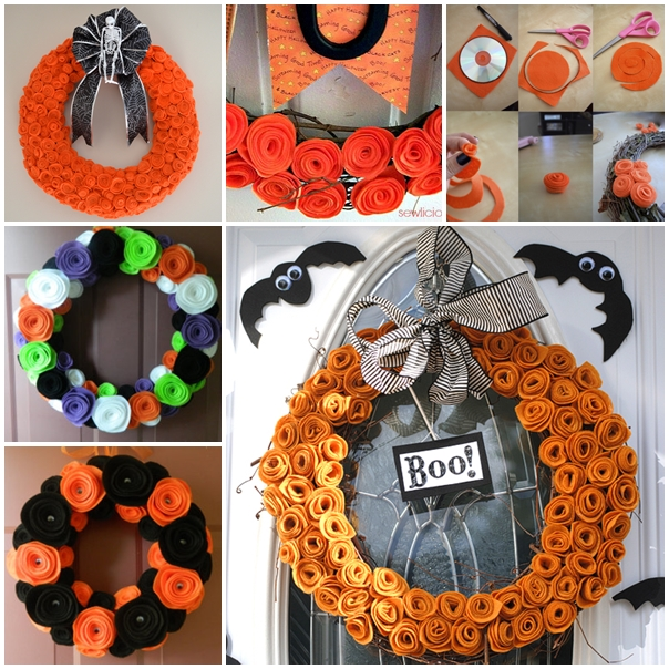 felt rose wreath for Halloween F Wonderful 21 Halloween Ideas Using Mason Jars