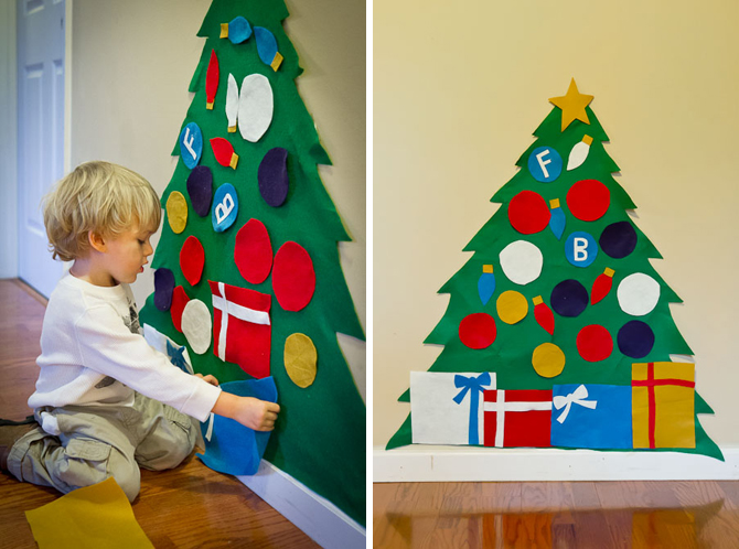 How to DIY Kids Play Felt Christmas Tree Wonderful Kids crafts    DIY Felt Christmas Tree