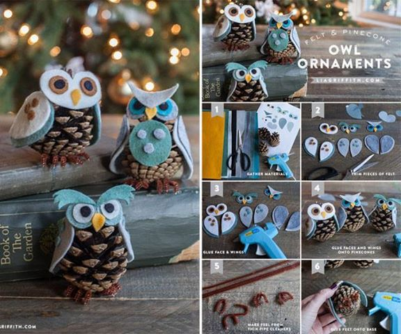 Pine Cone Owl Ornaments wonderfulDIY Wonderful DIY Lifetime Fabric Pine Cone Ornaments