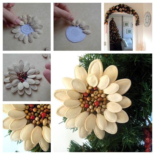Wonderful DIY Pumpkin Seed Flower Decoration