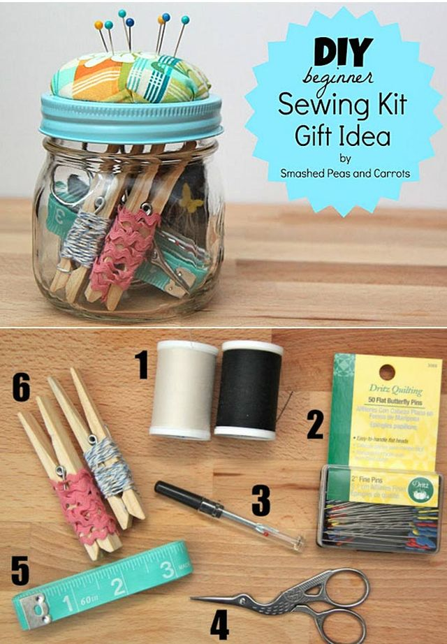 Beginner Sewing Kit Gift in a Jar - DIY Idea