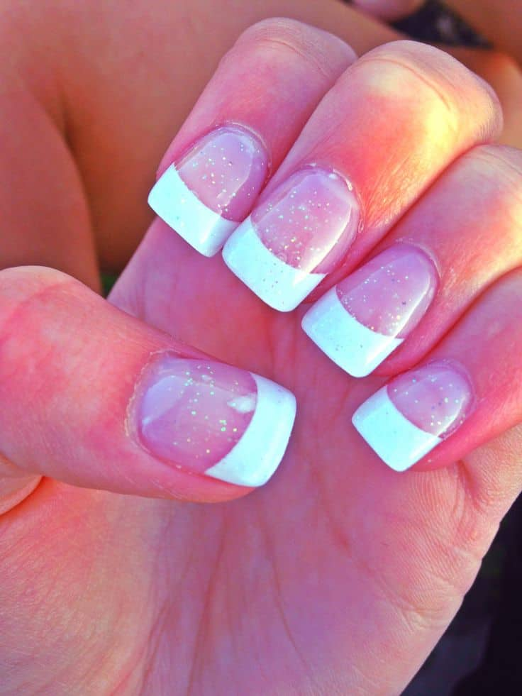 Polish Nail Sparkly White