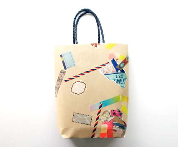 Gift wrap, sticker, and washi tape gift bag