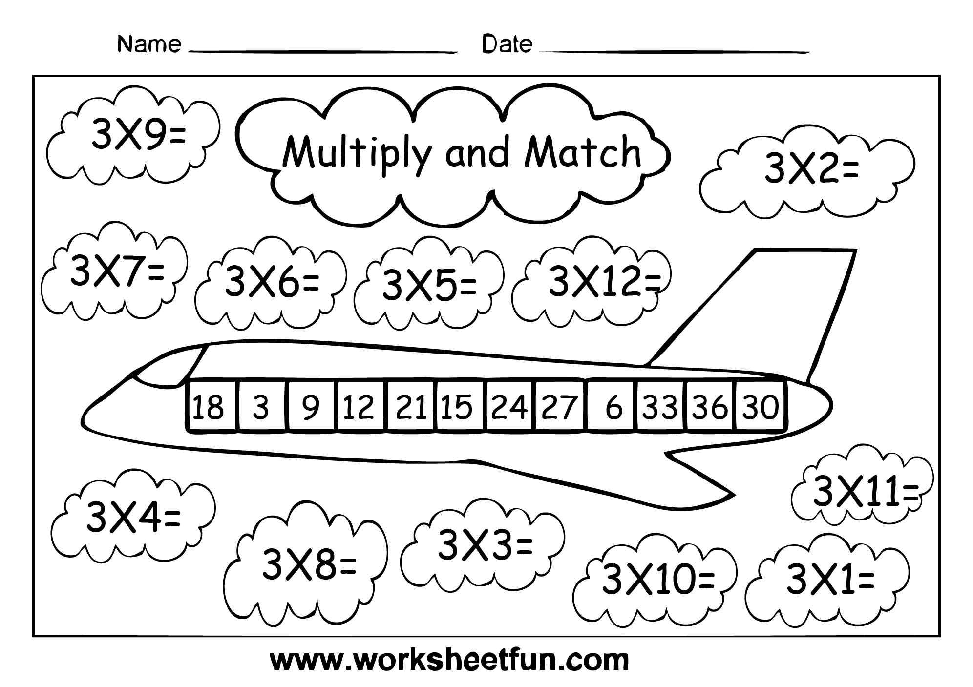 Multiply And Match Multiplication Activity Multiply By