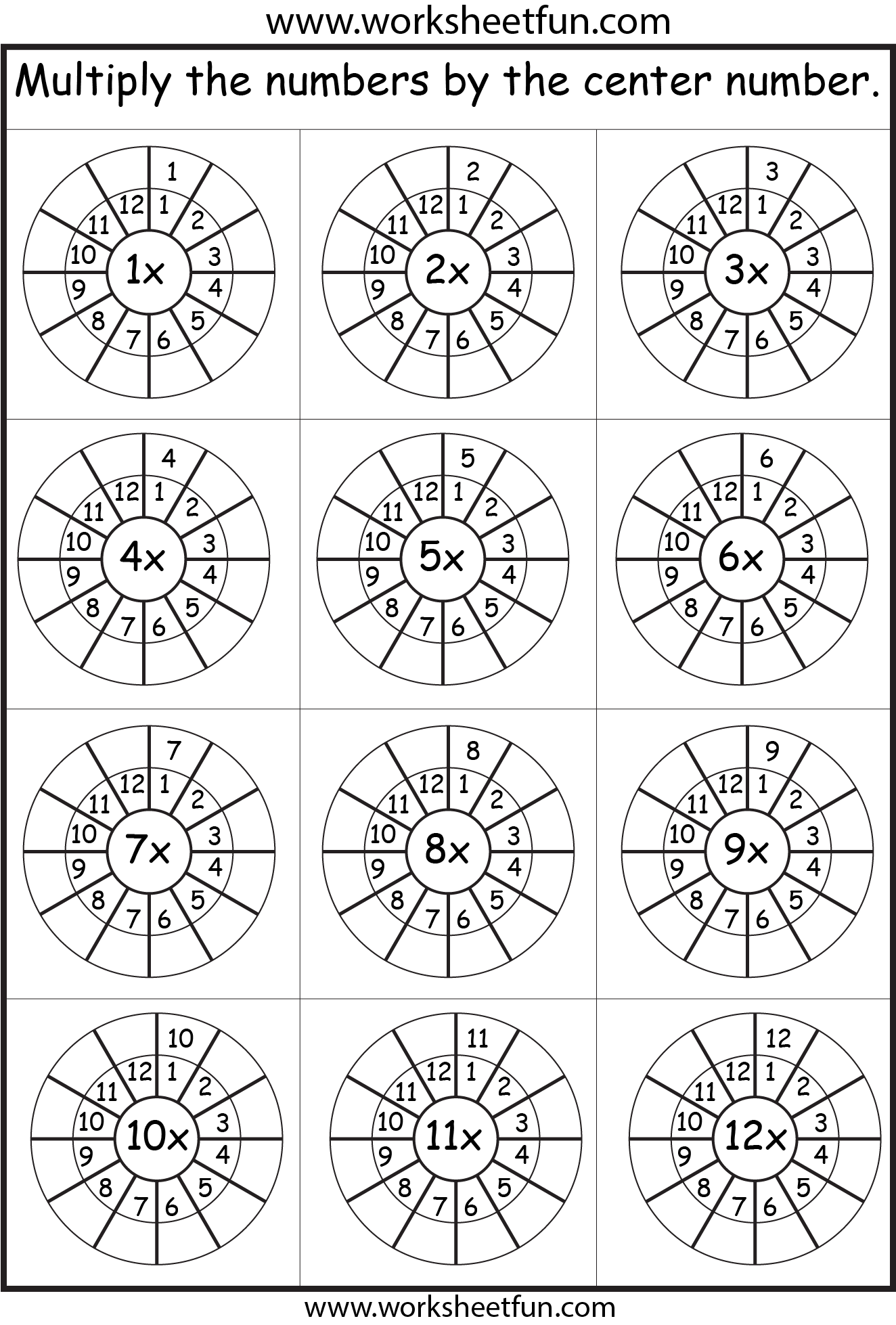 Times Table 2 12 Worksheets 1 2 3 4 5 6 7 8 9
