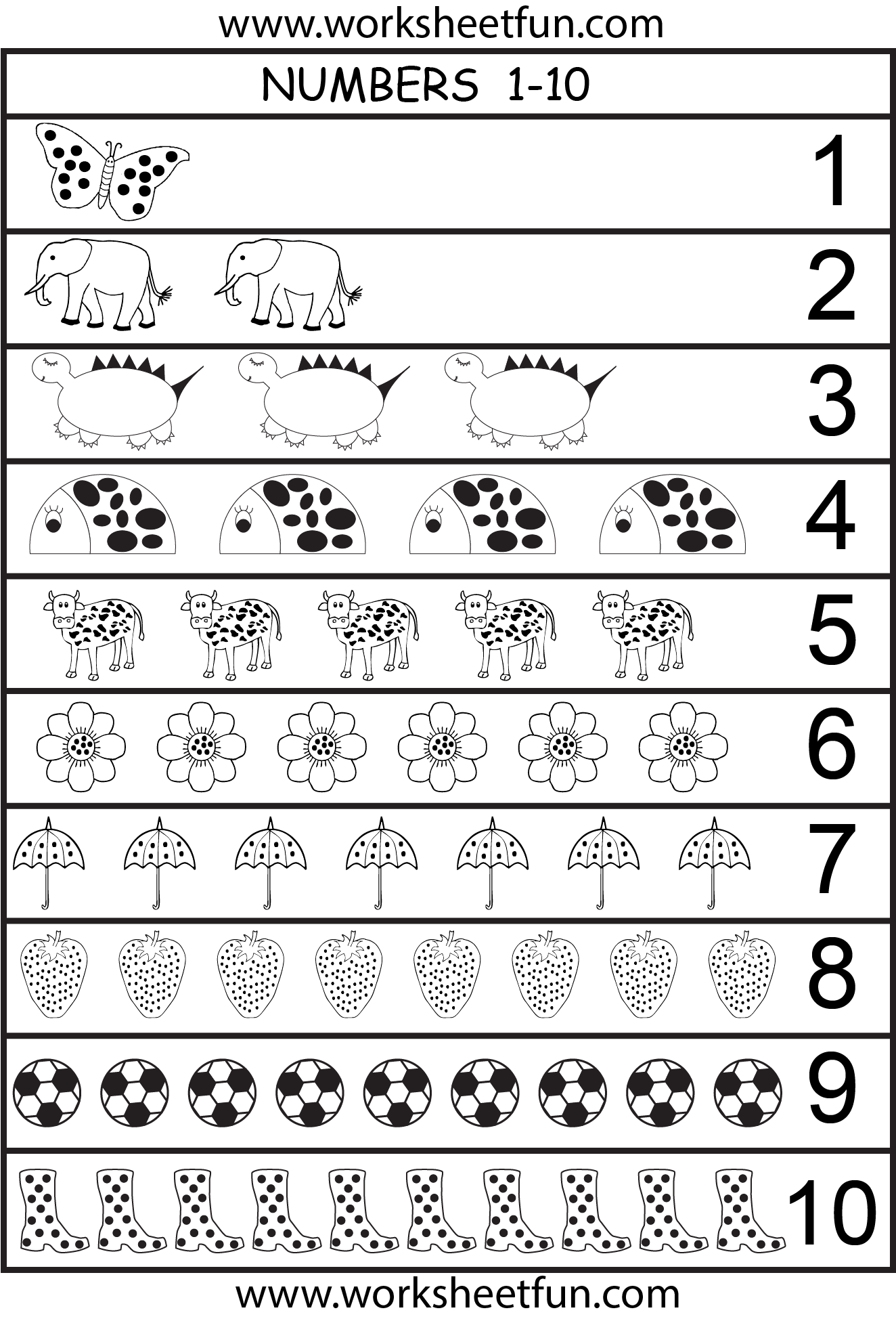 Number Chart 1 10 1 Worksheet Free Printable Worksheets Worksheetfun